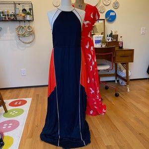 Halter color block maxi dress